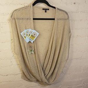 Jackets & Blazers - Eileen Fisher Linen and Viscose Blend Cream Vest